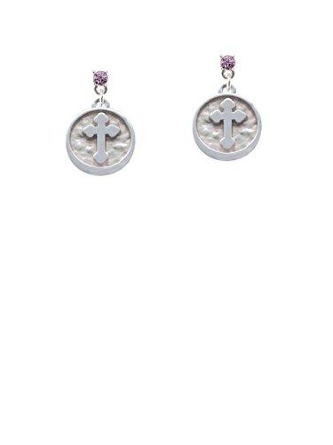 Botonee Cross - Round Seal Lavender Crystal Post Earrings (Cross Botonee)