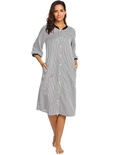 Ekouaer Long Sleeve Nightgown for Women Striped Nightshirt Button Down Sleepwear Black (Striped Womens Nightgown)