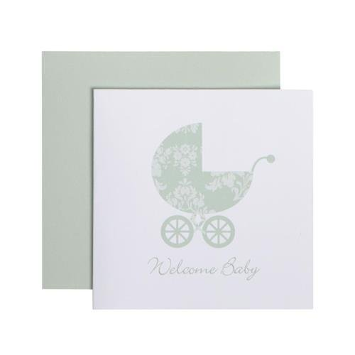 C.R. Gibson Green Welcome Baby Gift Card Baby Shower Gift Enclosure Card, 3.5 x 0.1 x 3.3 inches, 2 pieces]()