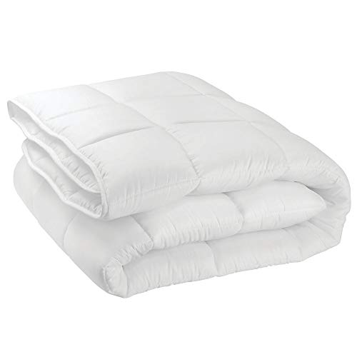 mDesign Twin All-Season Down Alternative Quilted Duvet Insert or Stand-Alone Comforter - Plush Hypoallergenic Microfiber Fill, Box Stitched - Machine Washable - Optic White