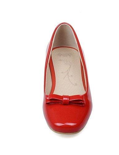 Scarpe pelle Nero Casual arrotondata Rosso Finta Ballerine Basso ShangYi Punta Red Donna Bianco dq8dzO