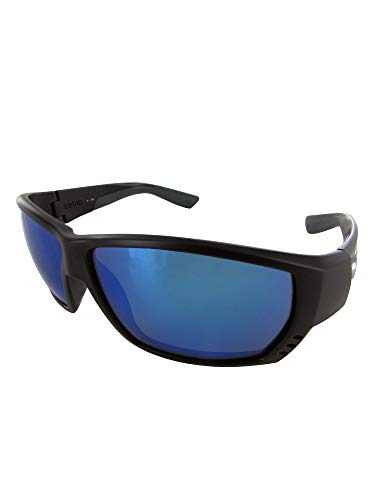 Polarized Glass Mirror Blue - Costa Del Mar Tuna Alley Sunglasses, Matte Black, Blue Mirror 580 Glass Lens