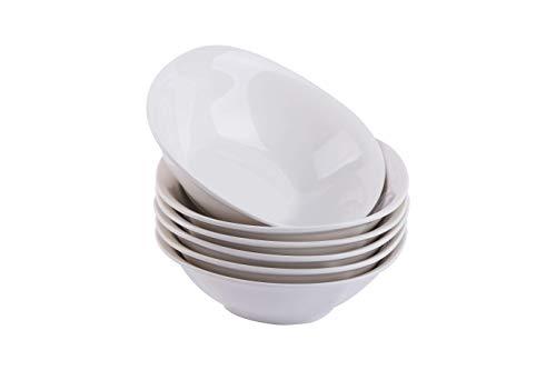 CUTISET Cereal/Salad/Desserts Bowls, Set of 6, White (7-inch, Square)