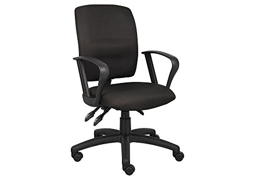 Multi-Function Task Chair with Loop Arms Black Crepe Fabric/Black Finish Dimensions: 27