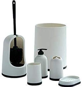 VINN DUNN ESSEN Plastic 6pcs Set White,Premium Bathroom Set For Hotel//Home//Office