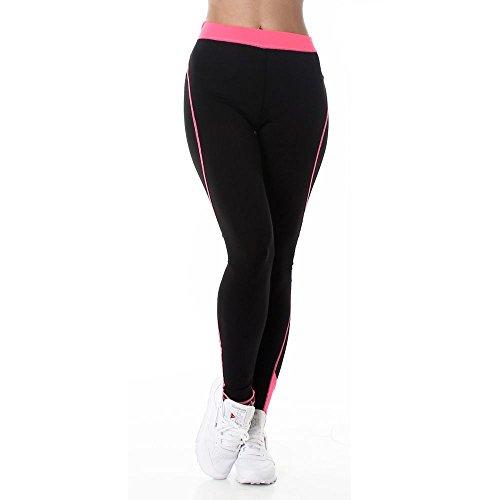 Damen Fitnesshose Sporthose schwarz Leggings dehnbar Yoga Sport Workout elastischer Bund sowie seitlicher Streifen farblich abgesetzt Farbe Neonpink, Größe S-M (Etikett M-L)