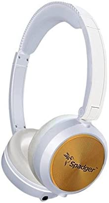 Spadger On-Ear Headphones and Lightweight Stereo Bass Headphones with Volume Control and Microphone
