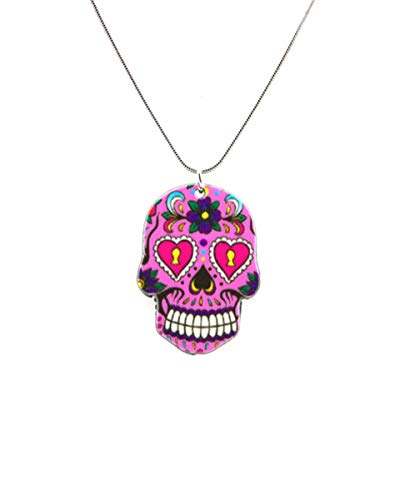Puka Creations Skull Necklace Sugar Skull Jewelry Cute Dia De Los Muertos Accessories (Pink Skull)