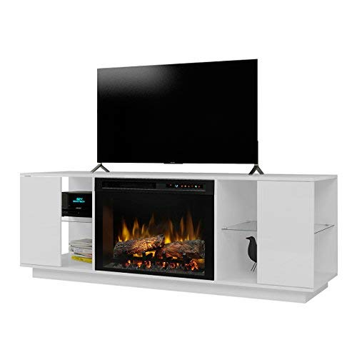 DIMPLEX Electric Fireplace, TV Stand, Media Console, Space Heater and Entertainment Center with Natural Log Set in White Finish - Flex Lex #GDS26L8-1652W (Electric Dimplex Fireplaces White)