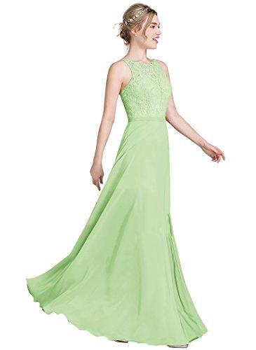 Loffy Women's Long Prom Dress Bridesmaid Dress Lace Chiffon Evening Gown Sage Size 8 (Floral Dress Chiffon Sage)