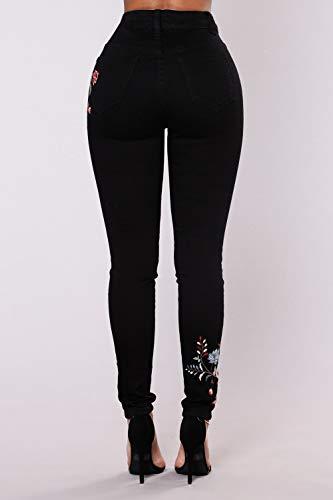 Strappata Donne Alta Pantaloni Taglia Jeans Le Lunghi Vita Yulinge Black Skinny Xq1UP
