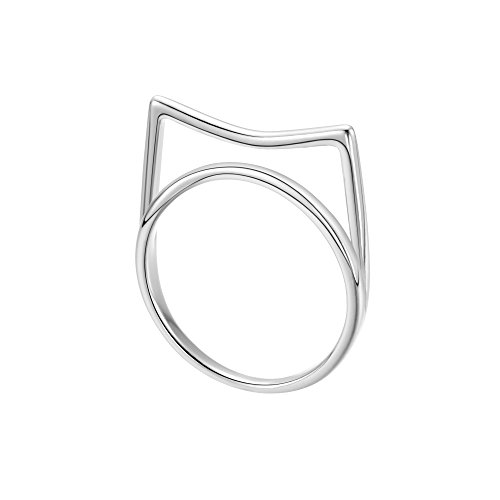 ff57b404ce5d QIANDI Anillo de plata de ley 925 ajustable con forma de gato de bambú para  mujeres