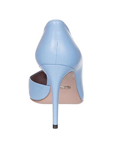 Gucci Scarpe Da Donna Con Tacco A Spillo In Pelle Blu Minerale Con Borchie Blu