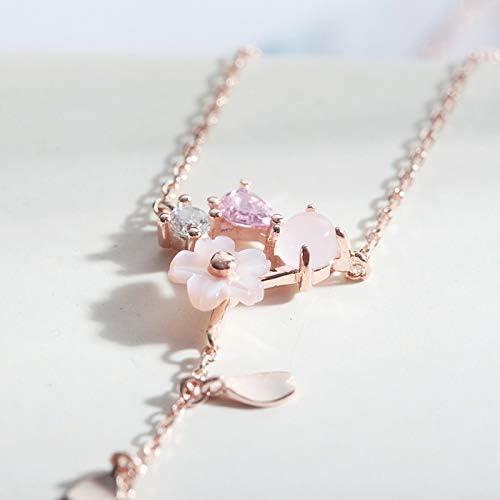 和風の高級ピンクシェル花ダイヤモンドペンダントローズピンクの花びらテーマ水滴花びらタッセルシルバーS925メッキKゴールドファッションネックレス