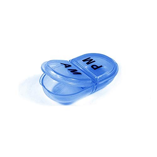 DEKE Pill Box Organizer Pocket Small Case Holder,Daily AM&PM containers, Medicine Holder, Ideal for Medication, Vitamin, Supplement, Perfect for Travel, 2 times a day,Round pillbox minder.Cute for Bag