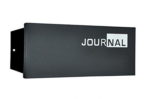 nanook Journal - Zeitungsfach, Zeitungsbox für den Briefkasten mit Schriftzug, pulverbeschichteter Stahl, schwarz