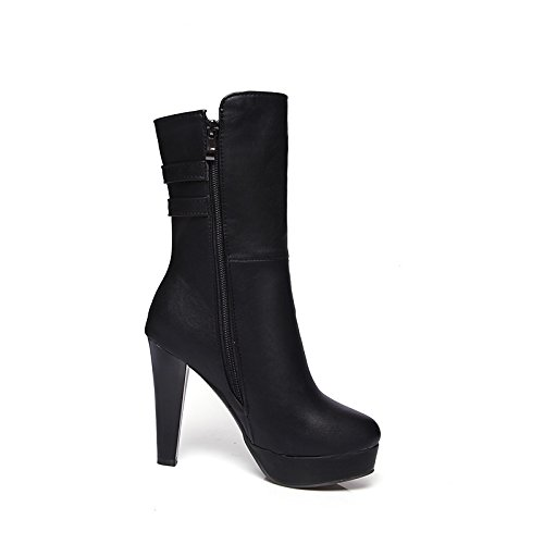 White Boots Round Winter Boots Women's HSXZ PU Leatherette Fashion Boots Ankle Booties Shoes Fall Calf Bootie Toe Buckle Stiletto Mid Heel Boots for ZHZNVX fOwgqxR