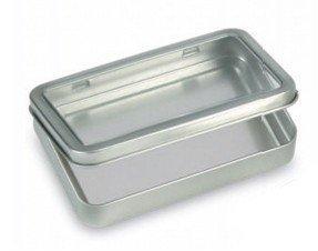 "12 Rectangular Metal Storage Tin Box with Windowed Hinged Lid - Plain Silver Blank Storage Case, Survival Kit Tins 5.5"" X 3.5"" X .9"""