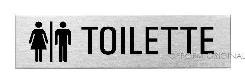 """OFFORM Targa autoadesivo in acciaio inox 160x40 mm No.10127 """"Toilette"""