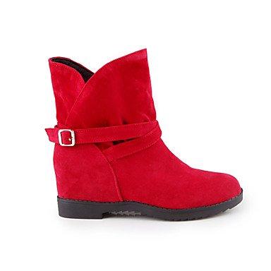 Botas de mujer Comfort Polipiel Otoño Invierno vestimenta informal poca comodidad hebilla talón de cuña Ruby Amarillo Negro Gris 2A-2 3/4 pulg. Gray