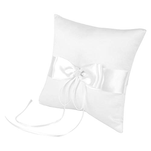 White Bowknot Ring Bearer Pillow Holder Wedding Ring Pillow with Simulation Pearl for Wedding(1515cm / 5.915.91in)