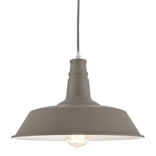 (Ohr Lighting Industrial Pendant Light Hanging Warehouse Farmhouse Metal fixture Matte Bright Gray White)