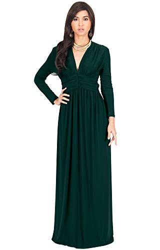 Autumn Gown (KOH KOH Petite Womens Long Sleeve Sleeves Vintage V-Neck Autumn Fall Winter Formal Evening Casual Flowy Maternity Abaya Muslim Islamic Cute Gown Gowns Maxi Dresses, Emerald Green XS 2-4)
