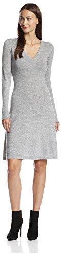 Dress Womens Cashmere (Cashmere Addiction Women's Long Sleeve V-Neck Dress, Light Heather Grey, M)
