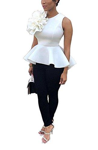 PrettySoul Women's Elegant Round Neck Sleeveless Flounce Ruffle Hem Flower Peplum Blouse Shirt Tops Clubwear White, X-Large