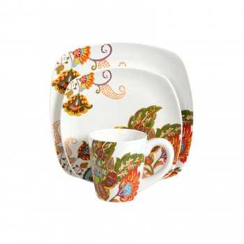 Amazon.com | 16 Piece Floral Stoneware Dinnerware Set w