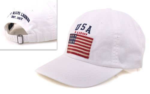 Polo Ralph Lauren Men USA Flag Baseball Hat (One size, White/navy)