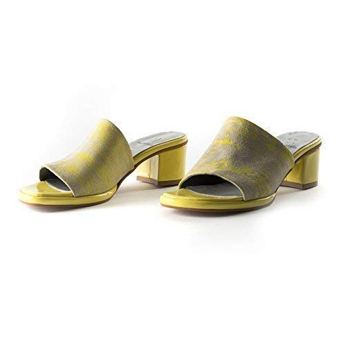 fe7910f63537a Amazon.com: Grey and Neon Yellow Printed Italian Leather sandal with ...