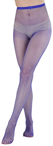 ToBeInStyle Women's Sexy Seamless Fishnet Full Footed Panty Hose Tights Hosiery - Purple - One Size Regular -