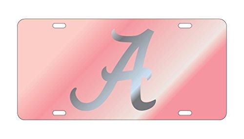 ALABAMA CRIMSON TIDE Pink Mirrored Auto License Plate Tag