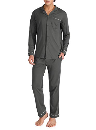 David Archy Men's 100% Cotton Long Button-Down Sleepwear Pajama Set (M, Dark Gray) - Long Lightweight 100% Cotton