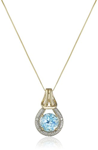 Blue Topaz and Diamond Accent Love Knot Pendant Necklace in 10k Yellow Gold, 18'' by Amazon Collection