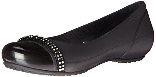 crocs Women's Cap Toe Rhinestone W Ballet Flat, Black/Black, 6 B(M) US