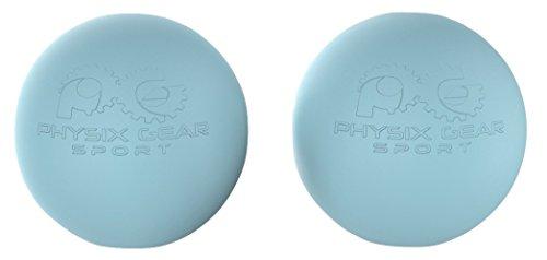 Physix Gear Sport Lacrosse Ball Set of 2 - Best Deep Tissue Massage Balls for Trigger Points, Plantar Fasciitis Neck & Back Pain - Roller for Rehab, Acupressure Foot Reflexology & Myofascial (BLU 2PK)