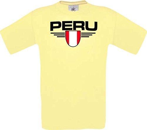 Shirtstown Man Camiseta Perú Camiseta de País con SU Jungen y su Número Deseado, Fútbol