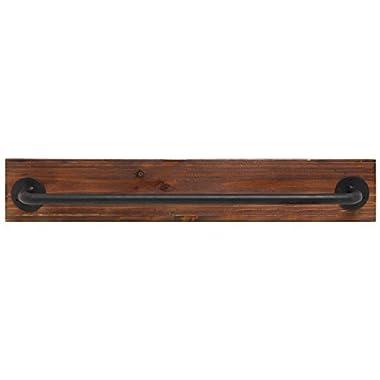 Rustic Wood & Metal Wall Mounted Towel Bar / Hanging Rod Unit For Modular Storage Racks