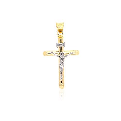 (14k Yellow & White Gold Hollow Two-Tone Jesus Crucifix Cross Pendant 1.2