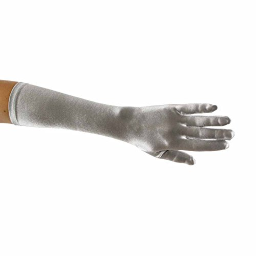 Showstopper Shiny Satin Elbow Length Gloves for Girls (Silver, 4-7) ()