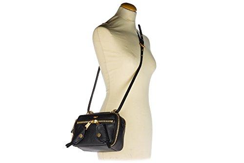 Moschino Schultertasche Leder Damen Tasche Umhängetasche Bag Schwarz