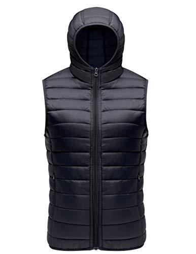 - SUNDAY ROSE Sleeveless Jacket Womens Lightweight Packable Puffer Down Vest Jacke Hooded Black - Size M
