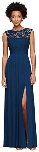 MORE COLORS Long Bridesmaid Dress with Lace Bodice Style F19328, Marine, 20 price tips cheap