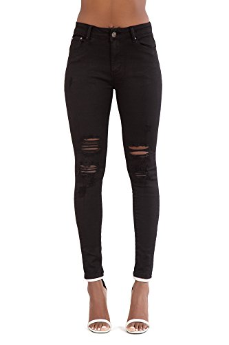 10 Black 6 Ripped Ripped 14 Stretch 12 Knee Blue Cut Skinny 8 Size Frayed Denim Jeans Slim New Faded Fit Jeans Womens Trousers Sexy Black LustyChic qBURtR