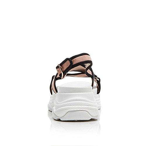 Zeppa Tacco Traspirante Alta Pink Striscia Slipsole Suola Personalità Di Donna KJJDE Metallo Sandali Di Gomma Piattaforma WSXY In L2010 wxUAq
