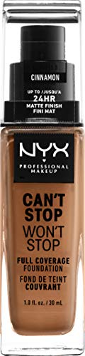 NYX PROFESSIONAL MAKEUP Can't Stop Won't Stop Full Coverage Foundation, Cinnamon, 1.3 Ounce