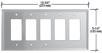 GMP502C CRL Clear 5-Gang Decora Glass Mirror Plate