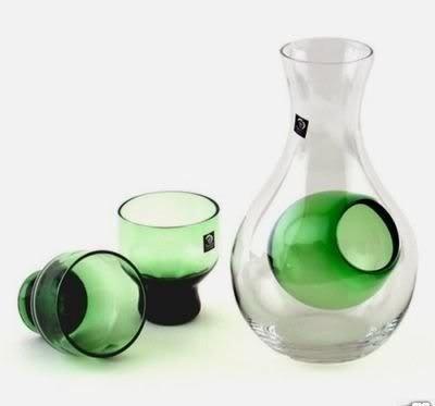 JapanBargain S-1678, Glass Sake Set for Cold Sake, Green